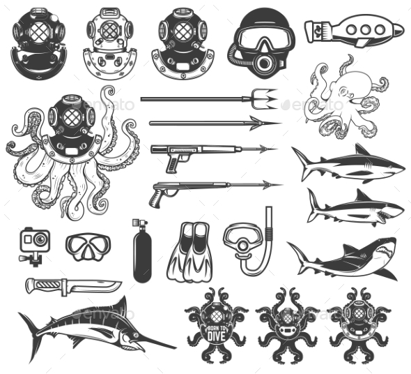 Big Set of Diving Icons. Diver Equipment, Weapon - Animals Characters