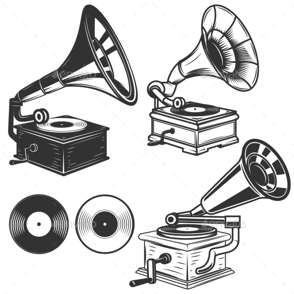 Set of Gramophone Illustrations on White - Miscellaneous Vectors