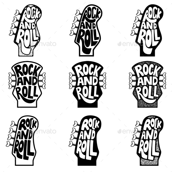 Rock and Roll. Set of Hand Drawn Phrase on Guitar - Miscellaneous Vectors