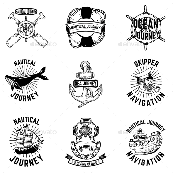 Set of Hand Drawn Nautical Emblems. Design - Miscellaneous Vectors