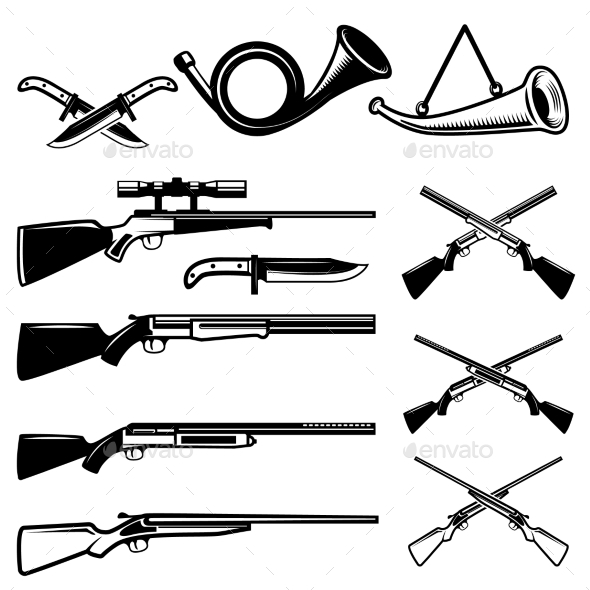 Set of Hunting Weapon Isolated on White Background - Miscellaneous Vectors
