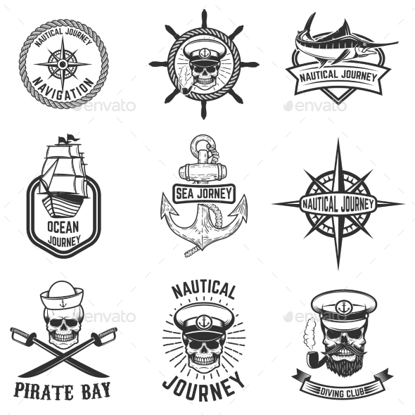 GraphicRiver Set of Nautical Emblems 20574446