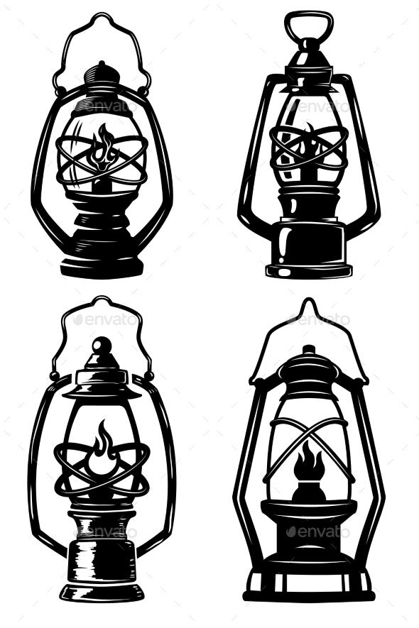 Set of Old Style Kerosene Lamps.  - Buildings Objects