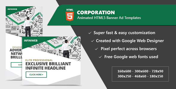 Corporation Banner Ad Templates - HTML5 Animated GWD - CodeCanyon Item for Sale