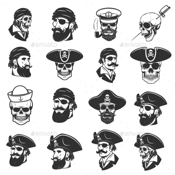 GraphicRiver Set of Pirate Heads and Skulls 20574472