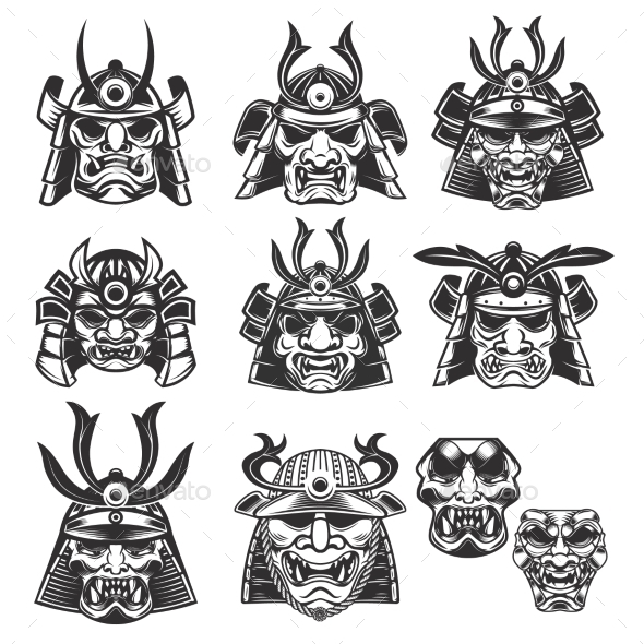 Set of Samurai Masks and Helmets on White - Miscellaneous Characters