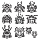 Set of Samurai Masks and Helmets on White