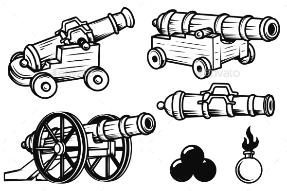 GraphicRiver Set of Ancient Cannons Illustrations 20574506