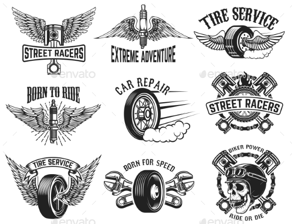 GraphicRiver Set of Tire Service Car Repair Labels 20574520