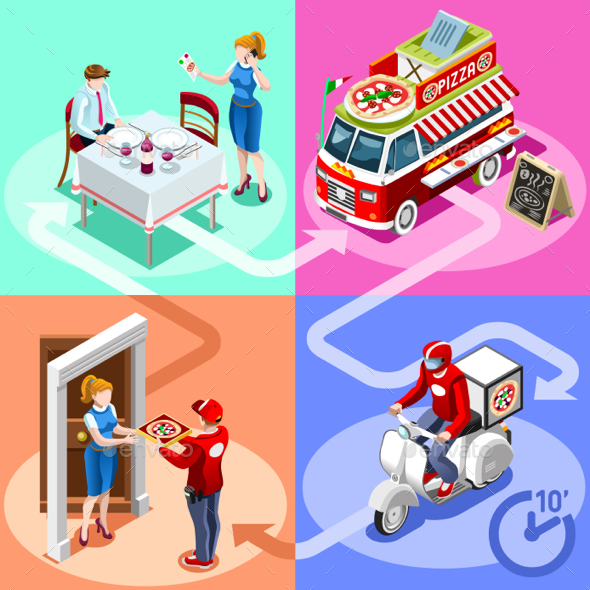 Food Truck Pizza Fast Home Delivery Vector Isometric People - Food Objects