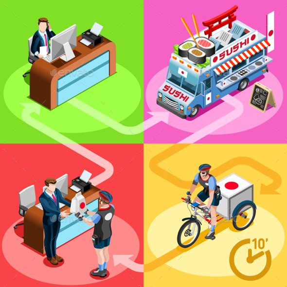 Japanese Food Truck Sushi Home Delivery Vector Isometric People - Food Objects