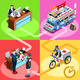 Japanese Food Truck Sushi Home Delivery Vector Isometric People