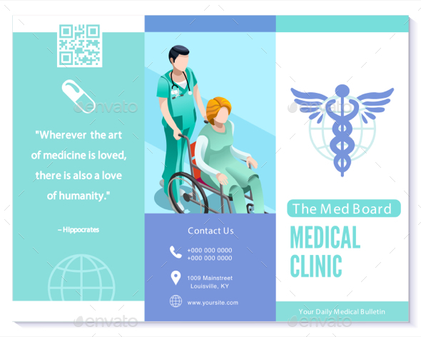 A4 medical care trifold for Clinic brochure template