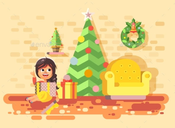 Vector Illustration Cartoon Character Child - Christmas Seasons/Holidays
