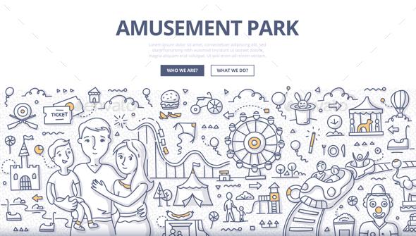 GraphicRiver Amusement Park Doodle Concept 20574857