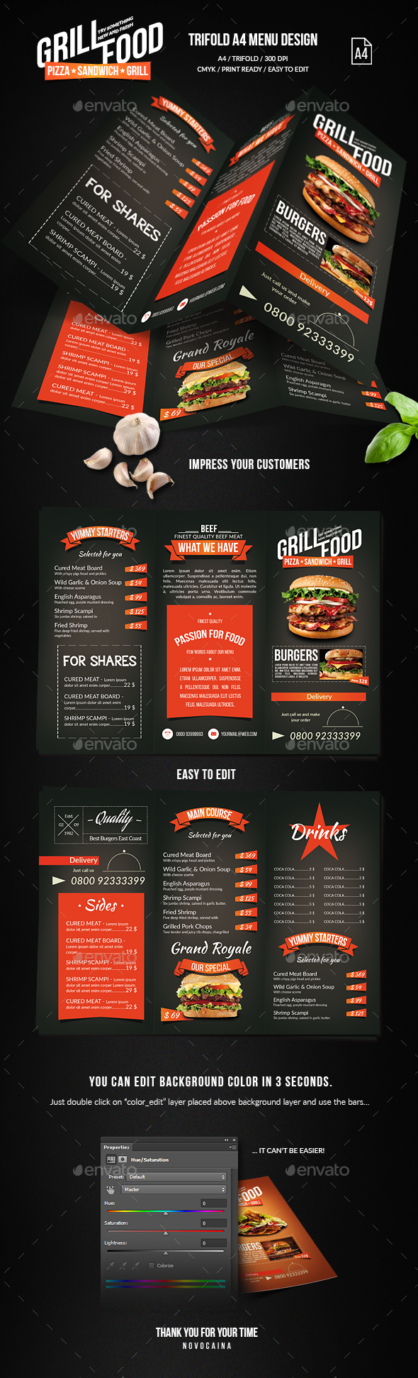 GraphicRiver Grill BBQ Trifold Food Menu 20574861