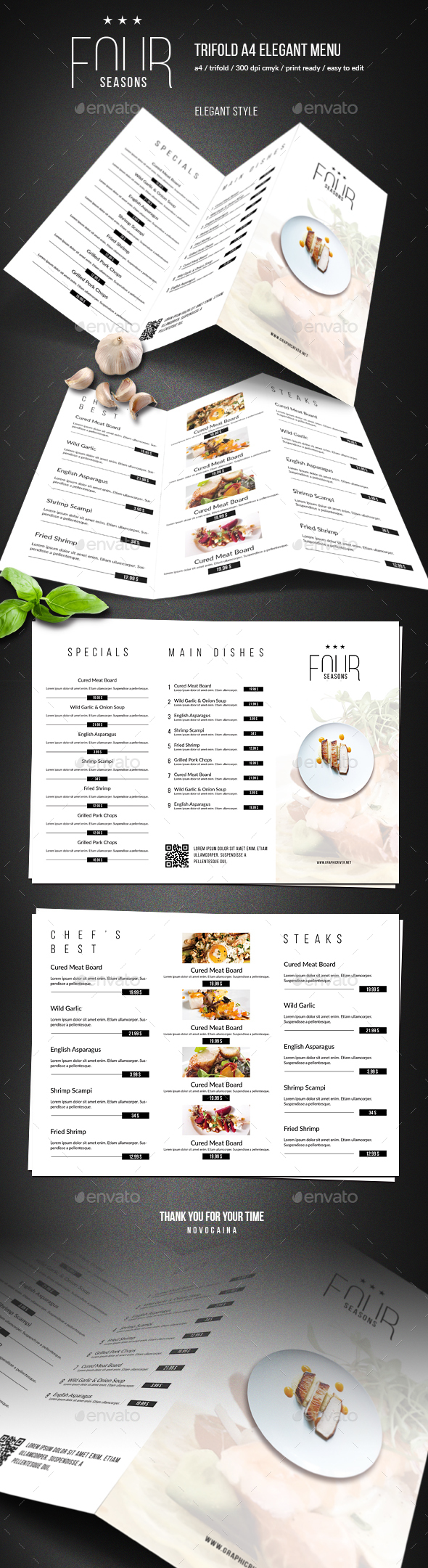 GraphicRiver Four Seasons Trifold Minimal Menu 20574875