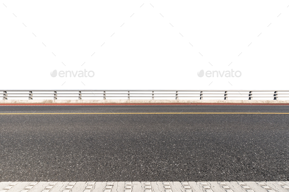 road with railings isolated on white - Stock Photo - Images