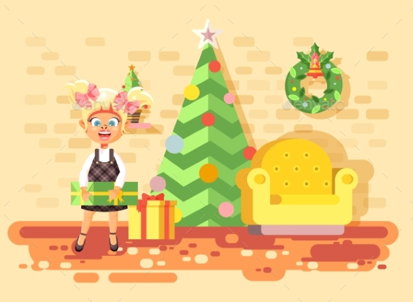 Vector Illustration Cartoon Character Child Blonde - Christmas Seasons/Holidays