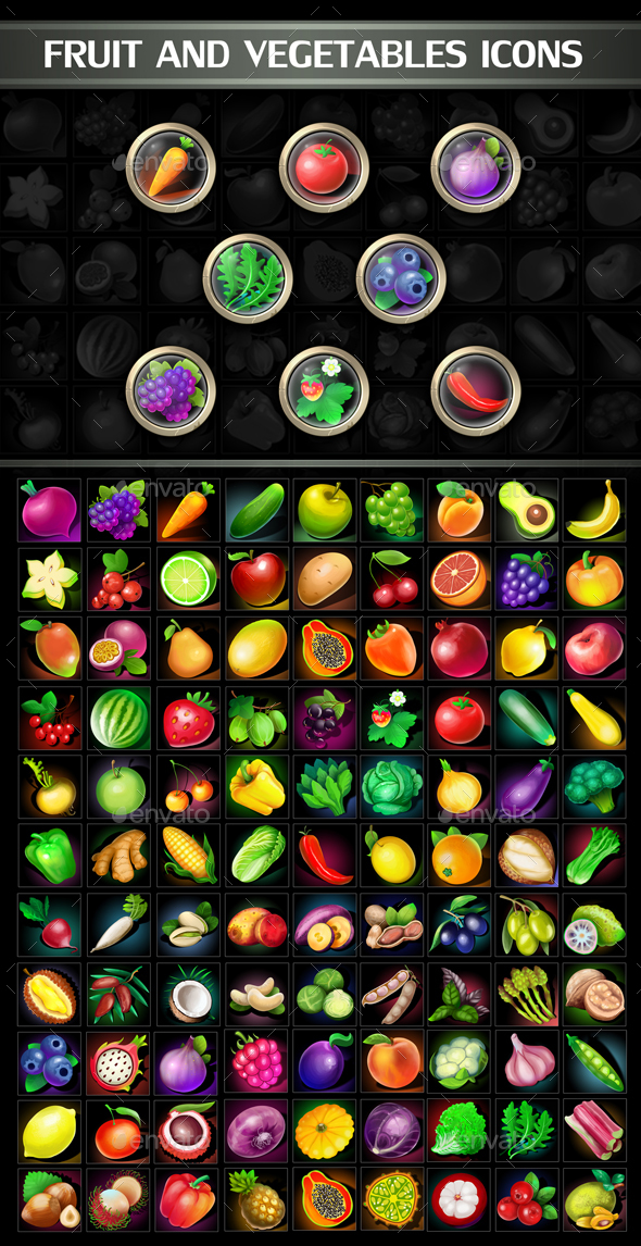 Fruit and Vegetables Icons - Miscellaneous Game Assets