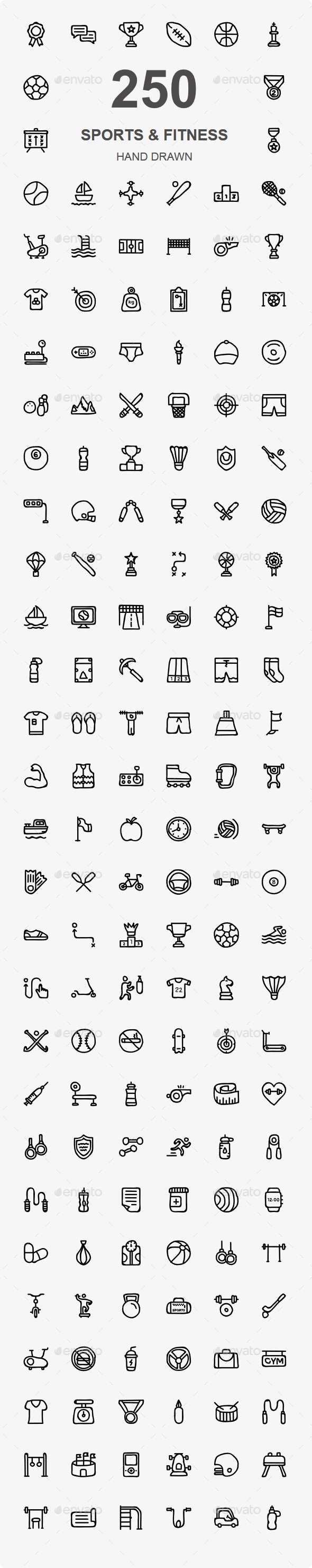 Sports and Fitness Hand Drawn - Web Icons