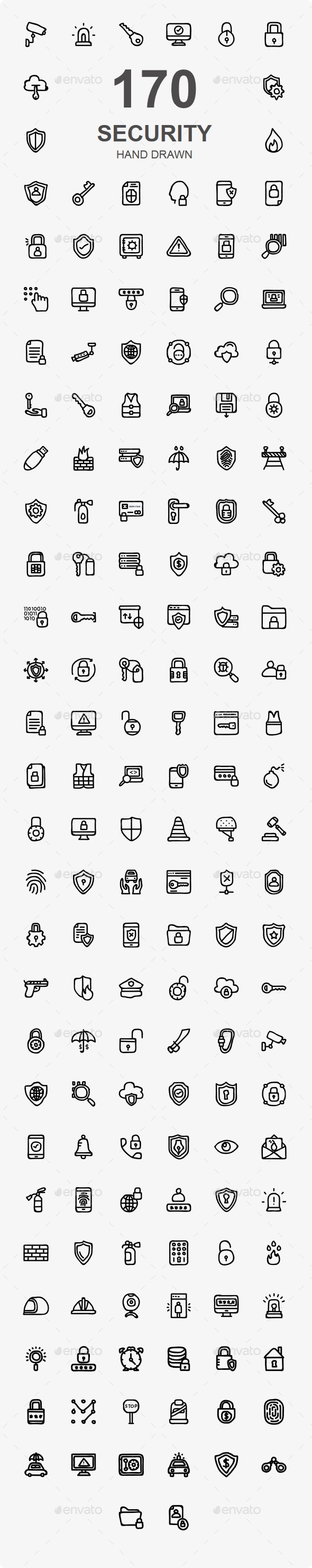 150+ Security Hand Drawn - Business Icons