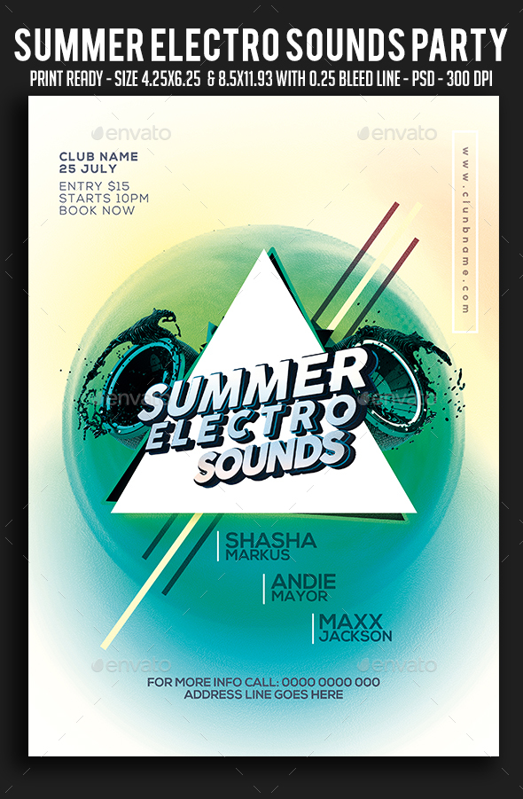 Summer Electro Sounds Party Flyer - Clubs & Parties Events
