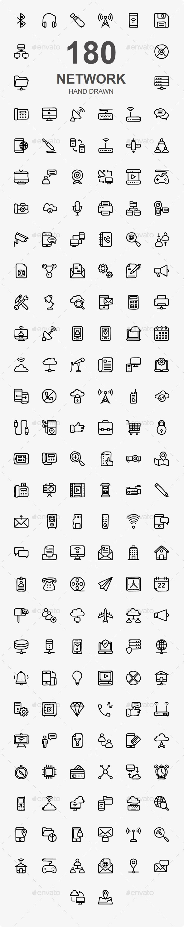 Network & Communication Hand Drawn - Web Icons