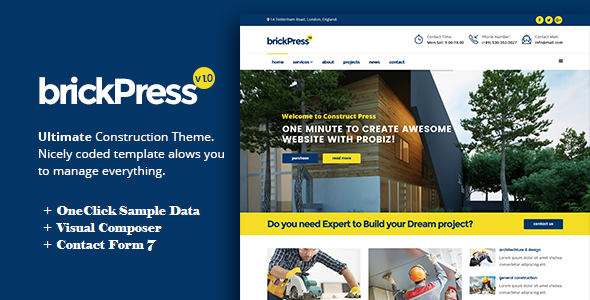 BrickPress - Construction & Building WordPress Theme