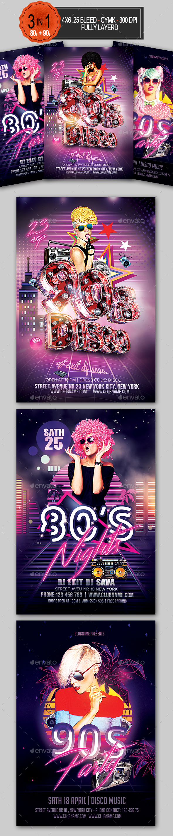 80's 90's Flyer Bundle - Clubs & Parties Events