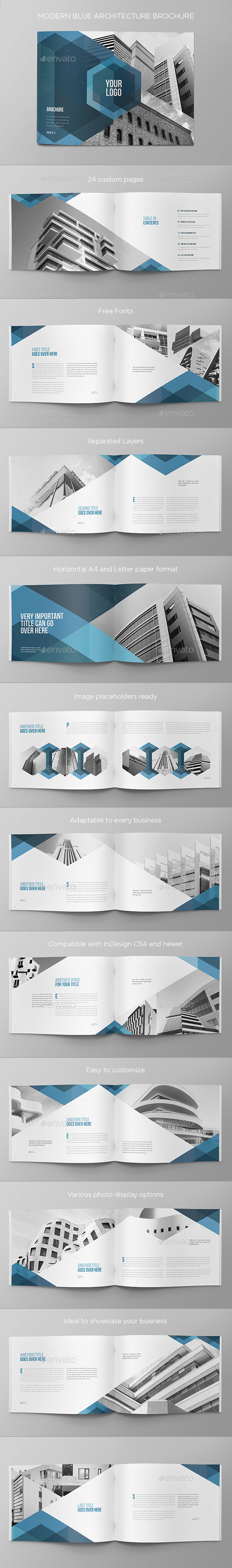 Modern Blue Architecture Brochure - Brochures Print Templates