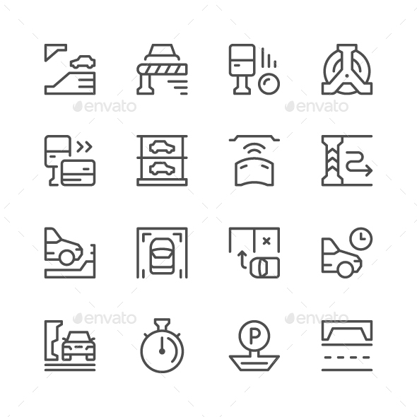 GraphicRiver Set Line Icons of Parking 20576525