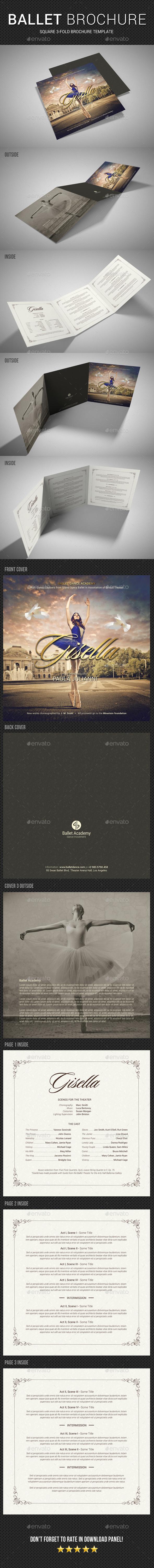 GraphicRiver Ballet Program Square Tri-Fold Brochure 20576590