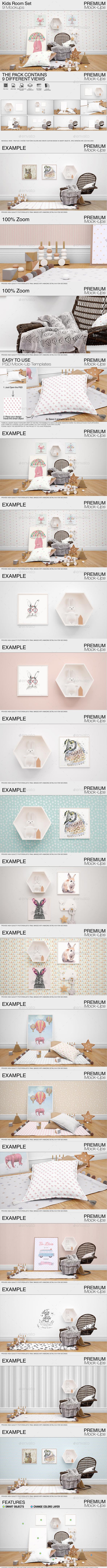 Kids Room Mockup Pack - Print Product Mock-Ups