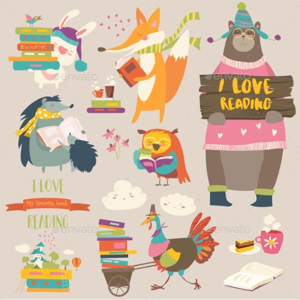 GraphicRiver Set of Cartoon Animals Reading Books 20577103