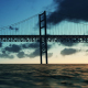 Bridge View Over the Sea and Time Lapse Clouds