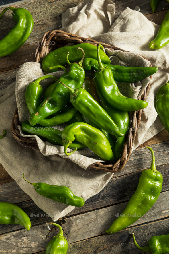 Raw Green Spicy Hatch Peppers - Stock Photo - Images