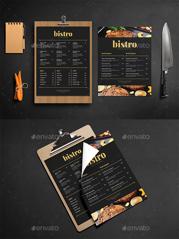 Simple Black & Gold Food Menu - Restaurant Flyers
