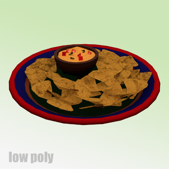 3DOcean Low Poly Nachos and Cheese Plate 20577934
