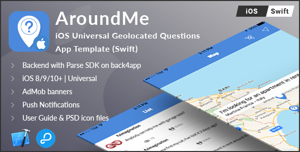 CodeCanyon AroundMe iOS Universal Geolocated Questions App Template Swift 20550096