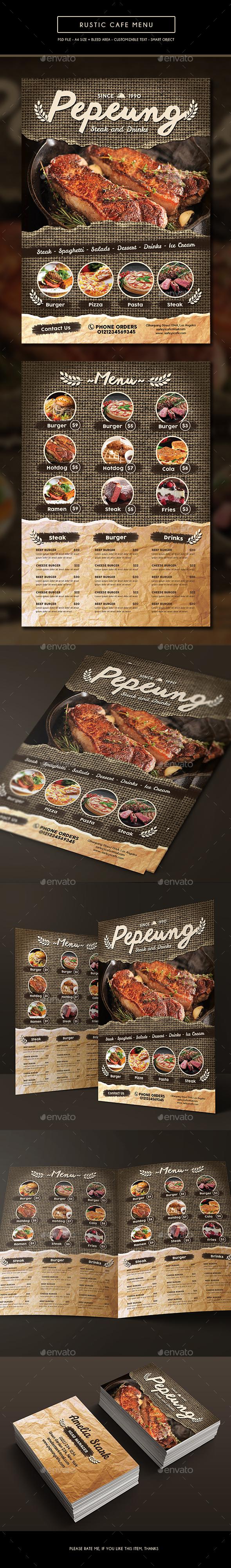 Rustic Cafe Menu - Food Menus Print Templates