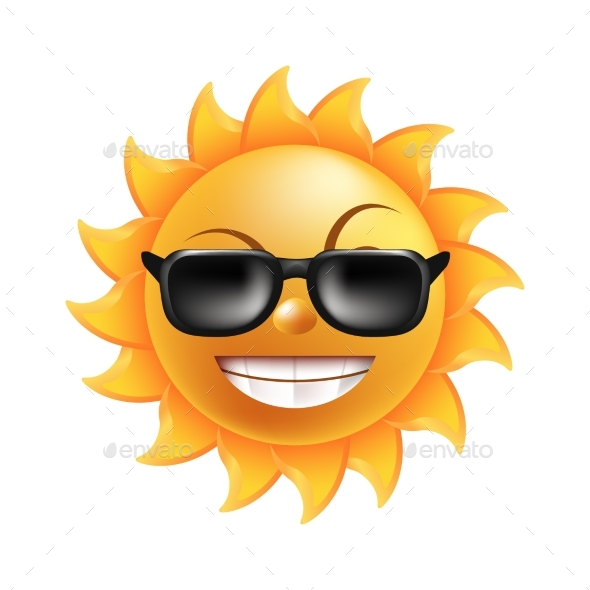 Sun with Face in Sunglasses Isolated - Miscellaneous Vectors