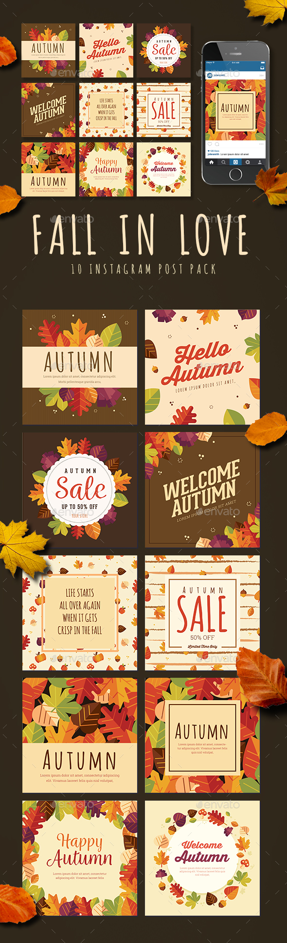 Fall in Love 10 Instagram Post Pack - Social Media Web Elements
