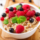 Tasty and healthy oatmeal porridge with berry, flax seeds and yogurt - PhotoDune Item for Sale