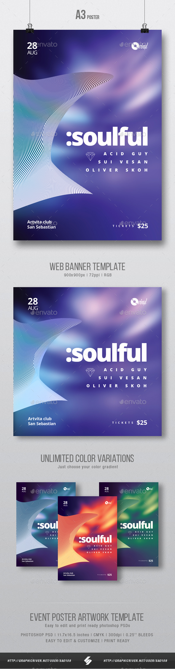 GraphicRiver Soulful Progressive Party Flyer Poster Artwork Template A3 20578424