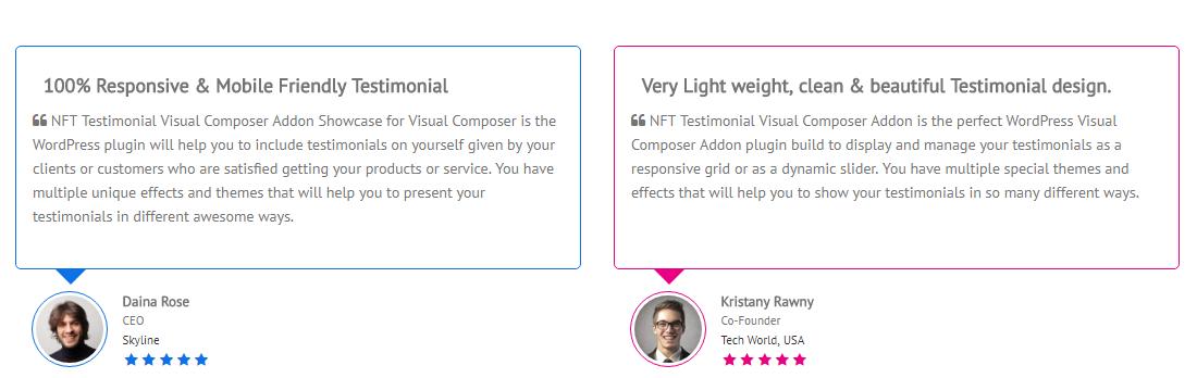 Testimonials Showcase for Visual Composer add on - 1
