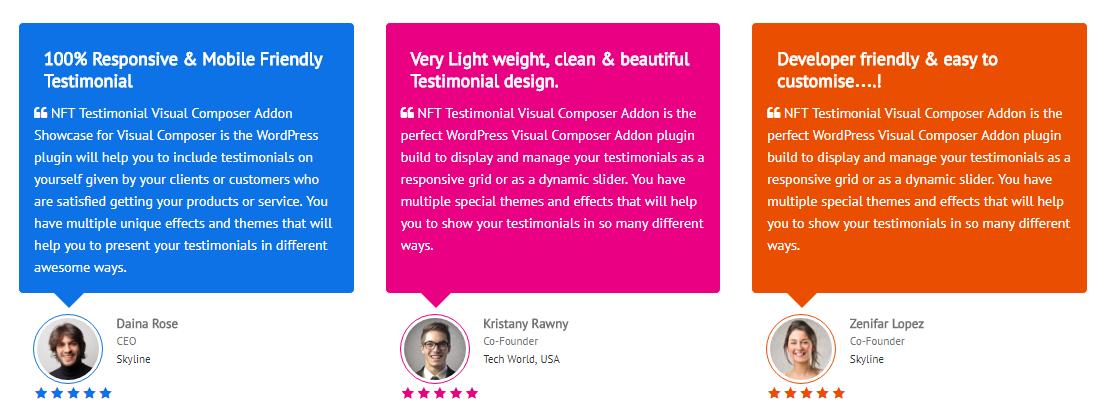 Testimonials Showcase for Visual Composer add on - 2