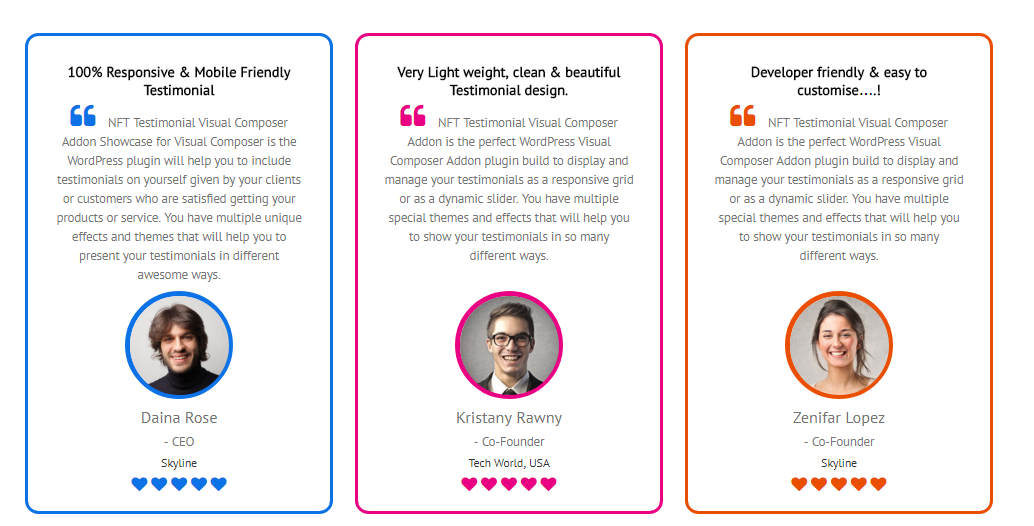 testimonials showcase for visual composer add on by codieslab Sample Testimonials testimonials showcase for visual composer add on