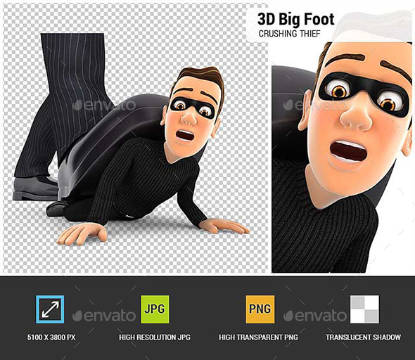GraphicRiver 3D Big Foot Crushing Thief 20578710