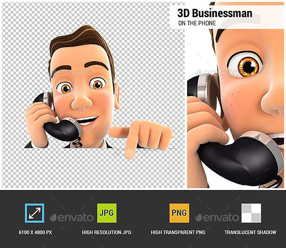 GraphicRiver 3D Businessman on Phone and Pointing to Empty Wall 20578716